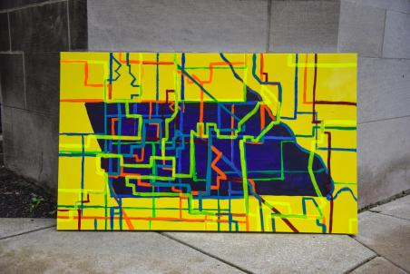 A map of ward boundaries over Logan Square, rendered as a painting on canvas